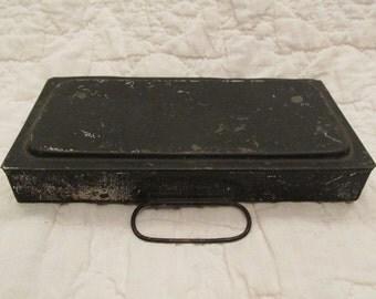 Vintage Small Tool Box Metal with label S W Tilton Co Boston