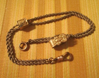 Antique Victorian Gold Fill Watch Chain with Slide