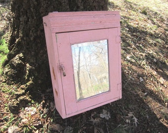 Antique Primitive Painted Wood Large Medicine Cabinet with Beveled Mirror