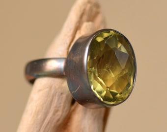 Lemon Quartz Oxidized Silver Ring.  Minimalist Lemon Quartz Gemstone Sterling Silver Ring. Silversmith Fine Jewelry. Size 7.0