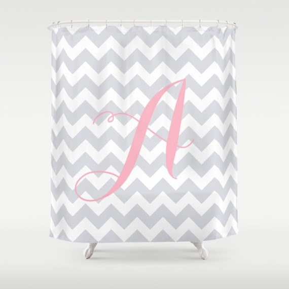 Monogrammed Gray Shower Curtain for Kids Pastel Cute Girls