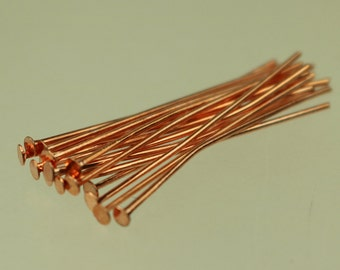100 Copper Headpin - 2 Inch 22 Gauge 22G - Copper Plated Brass Flat Round Head Headpin Head pins TPin - ship from California USA