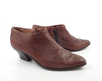 Woven Leather Shoes Winklepicker Brown Vintage 1980s Kikit Women's size 6 M