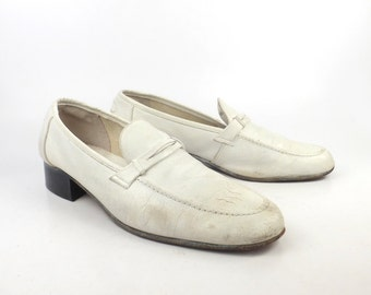Bally Shoes Loafers Vintage 1970s White Leather Dress Men's size 9 1/2 M