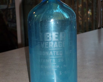 etched Liberty Beverage Newark NJ blue carbonated water seltzer soda glass bottle made in Czechoslovakia
