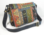 Purse with Flap Shoulder Bag Crossbody Medium-Sized Bag Quilted Patchwork Multi-Colored