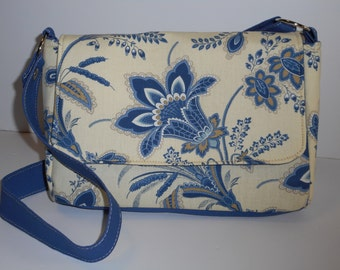 Purse with Flap Shoulder Bag Crossbody Medium-Sized Bag Jacobean Print in Blues,Tan and Cream Many Pockets Adjustable Strap Ready to Ship