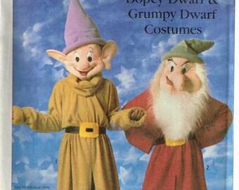 Child Size 6 8 Disney Dopey Grumpy Seven Dwarfs Halloween Costume Sewing Pattern Kids Head Hat Pants Spats Snow White Character