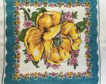 Vintage White and Blue Green Handkerchief with A Yellow Flower
