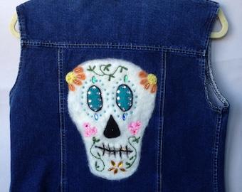 Day of the Dead - Dia de los Muertos Denim Vest