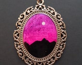 Nature at Night MOUNTAIN RANGE 30 x 40 mm Hand Painted Necklace