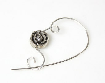 Silver Flower Scarf Pin, Shawl Pin, Jewelry Brooch - Petite Acrylic Silver Rose Bead, Scarf Accessory, Gift for Knitters