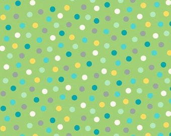 Green Polka Dot Cotton Fabric from Animal ABC's -by Whistler Studios for Windham Fabrics - Yardage