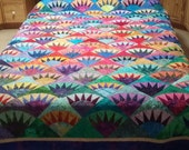 King Size Handmade Quilt in Batiks New York Beauty Quiltsy