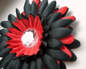 "CLOSEOUT-4"" Black & Red Gerbera Daisy Clip-Flower Hair Clip-"
