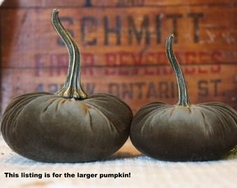 LARGE Scented Velvet Pumpkin, Olive Green