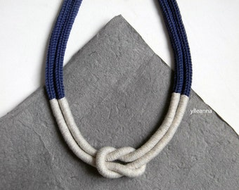 Statement necklace. Multistrand wool necklace. Indigo blue, sand.