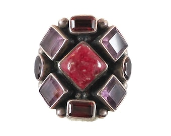 Garnet Ring, Amethyst, Multi Gemstone, Vintage Ring, Sterling Silver, Purple Red, Mixed Stones, Big Statement, Designer NB, Boho Bohemian
