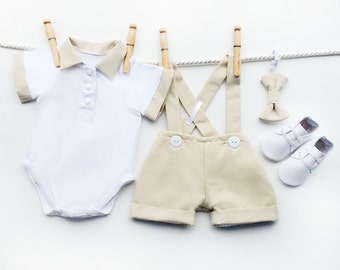Natural Linen Handmade Baby Set, Baby Wedding Outfit, Ringbearer Outfit, Linen Clothes, Baby Boy Outfit, Baby Boy Formal Wear, Christening