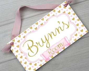 Soft Pink and Gold Hearts Girls Bedroom Baby Nursery DOOR SIGN Wall Art DS0441
