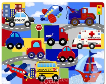 Lots of Vehicles Transportation Patchwork Stretched Canvas Children's Bedroom Wall Art CS0005