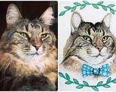 8x10 Custom Watercolor Pet Portrait (Cats)