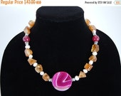50% OFF CLEARANCE Citrine and Freshwater Pearl Necklace by Debbie Renee, Large Fuchsia Agate Pendant, Stone and Pearl Necklace