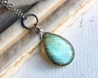 Labradorite Necklace on Sterling Silver - Moss Gem by CircesHouse on Etsy