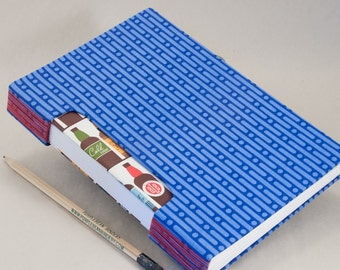 Journal, Notebook, Sketchbook or Guestbook, Unique and Hand-bound with a Bright Blue Fabric Cover and Beer Bottle Endpapers