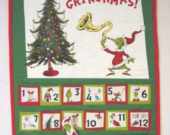 Grinch advent calendar Merry Grinchmas Christmas wall quilt sparkly Quiltsy handmade