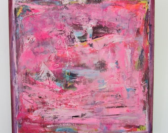 Large Pink Art. Cool Bright Painting by Francine Ethier. 30 x 30 inches