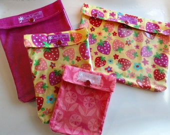Clearance Ouch Pouch Strawberry/Pink Set - 4 Sizes 'Clear Pocket' Travel Bags Organize First Aid Baby Supplies Diapers/Wipes Cosmetics