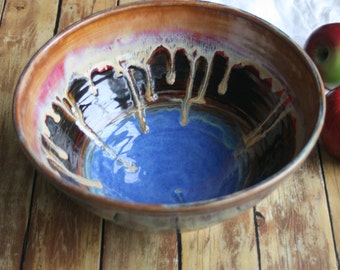 "Extra Large Serving Bowl with Gorgeous Dripping Glazes ""Second"" Discounted Ceramic Bowl Handcrafted Pottery Bowl Made in USA"