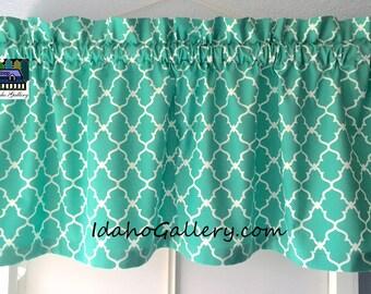 Curtain Turquoise Aztec Geometric Lattice Trellis Bedroom Kitchen Window Treatment Valance Modern