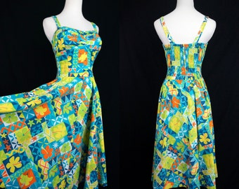 1960s Hawaiian Sun Dress Shelf Bust Bright Color Turquoise Fit and Flare Sleeveless Summer Medium