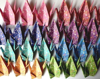 32 Large Origami Cranes Origami Paper Cranes - Made of 15cm 6 inches Japanese Chiyogami Paper - Floral Pattern 8 Colors
