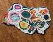 "SALE! Rainbow Freeform Crochet Rug or Wall Hanging 28"" x 50"""