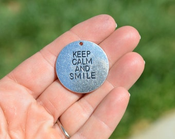 5  Silver Keep Calm and Smile Charms SC2926