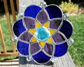 Stained Glass Suncatcher in Cobalt Blue, Amethyst Purple, Lemon Yellow and Sky Blue