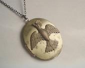 Vintage Brass Locket Bird Necklace Locket Large Brass Oval Locket