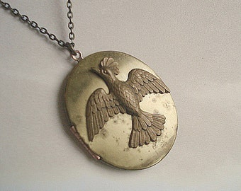 Brass Bird Locket Vintage Brass Locket Bird Necklace Locket Large Brass Oval Locket