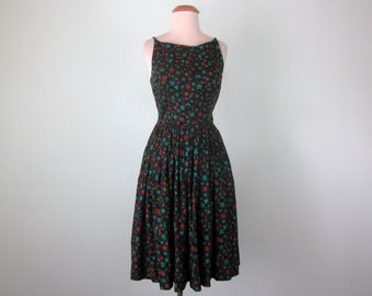 60s black floral print cotton sundress pleated fitted waist dress (xs - s)