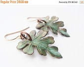 Memorial Day Sale Earrings, Leaf, Leave, Verdigris, Green, Forest, Woodland, Nature