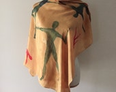 vintage THE ENGLISH PATIENT silk scarf / large silk wrap / free usa shipping