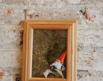Vintage Gnome Moss Wall Art, Gnome on the Run