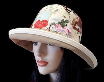 Sunblocker - Tan based large brim sun hat with love Paris print and adjustable fit