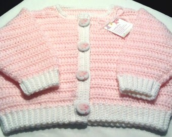Handmade Girl Baby Sweater with PIG Buttons