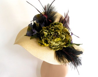 Green Peony and Calla Lilly Derby Hat
