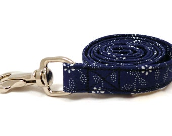 Dyed blue white floral leash