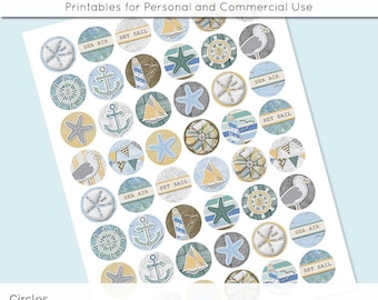 Beach Ocean Nautical Digital Collage Sheet Circle 30mm 25mm 20mm Download Sheets for Glass Pendants Cuff Links Round